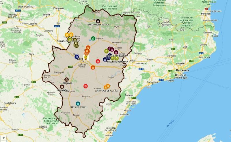 Mapa de cultivo Aragón